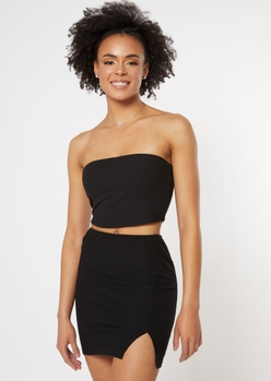 black double lined ribbed tube top - Main Image