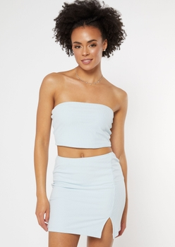 blue double lined ribbed tube top - Main Image