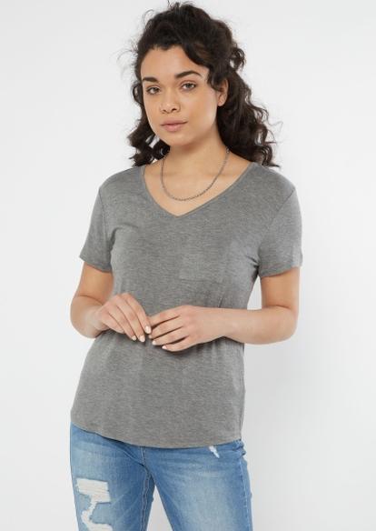 gray v neck pocket tee - Main Image
