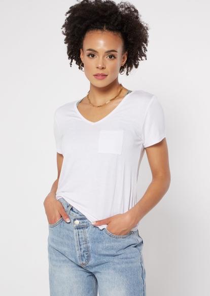 white v neck pocket tee - Main Image