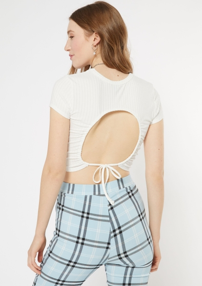 ivory ribbed open back crop top - Main Image
