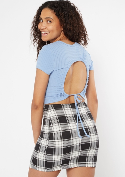 blue ribbed open back crop top - Main Image