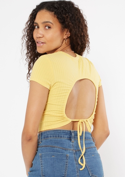 yellow ribbed open back crop top - Main Image