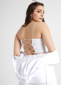 white bungee open lace up back cami - Main Image