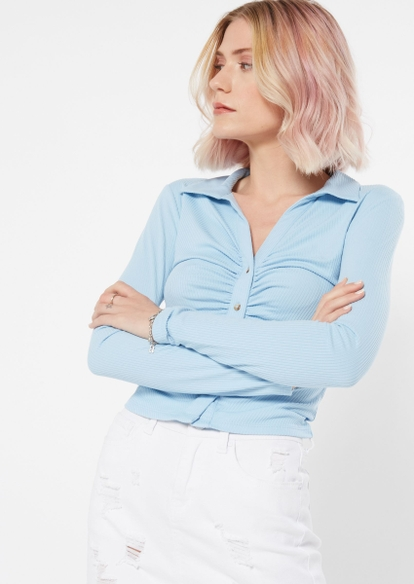 blue ruched button down long sleeve top - Main Image