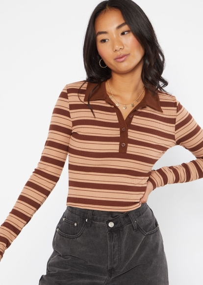 brown striped long sleeve polo top - Main Image
