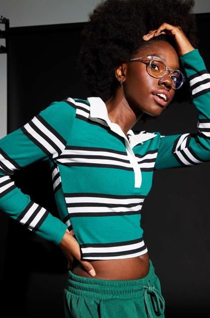 green striped long sleeve polo top - Main Image