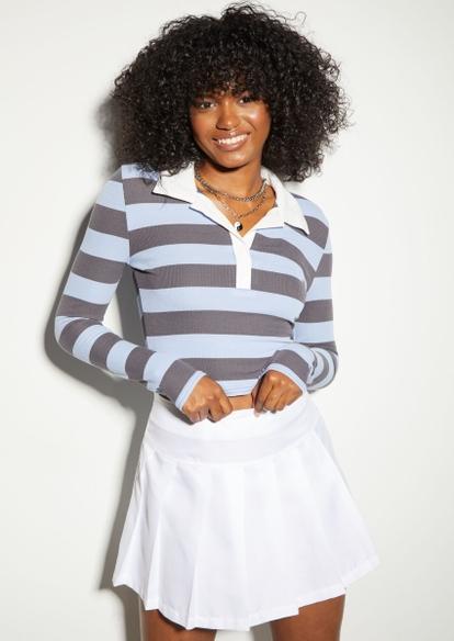 blue striped long sleeve polo top - Main Image