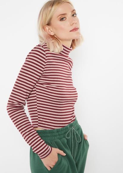 burgundy striped long sleeve turtleneck top - Main Image