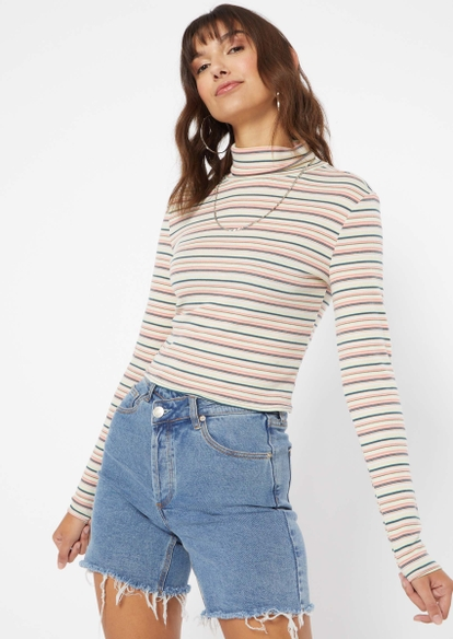 pastel striped long sleeve turtleneck top - Main Image