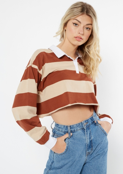 brown thick striped polo crop top - Main Image