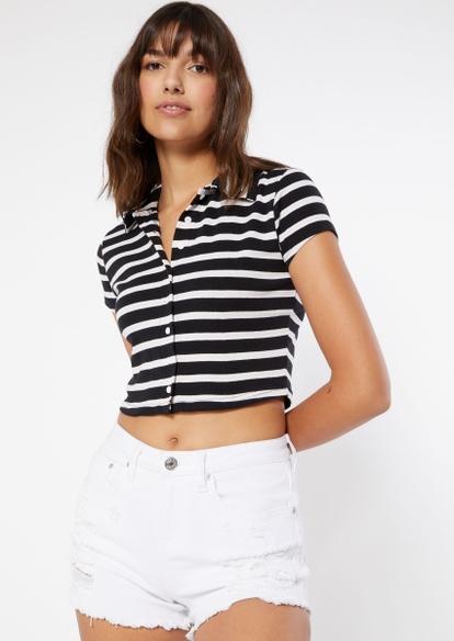 black stripe print full button front polo top - Main Image