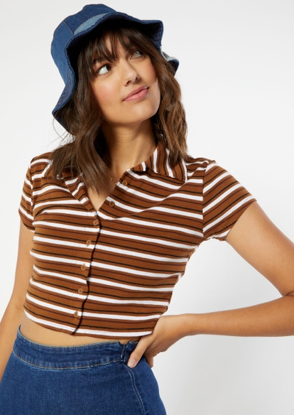 brown stripe print full button front polo top - Main Image