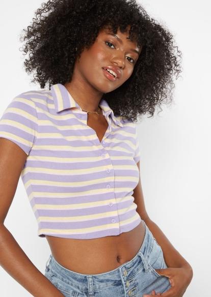 purple stripe print full button front polo top - Main Image