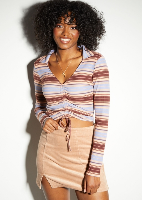 STRIPE LS RUCHED FRONT CO placeholder image