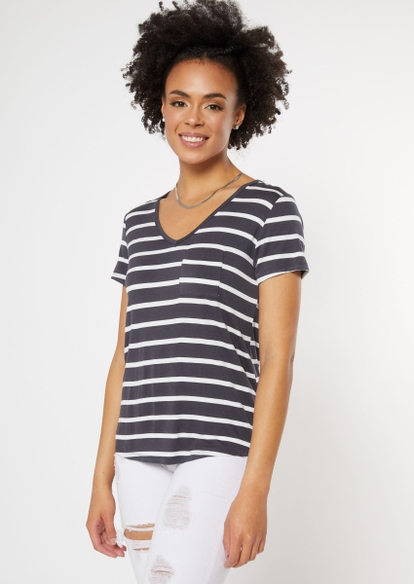 charcoal striped v neck pocket tee - Main Image