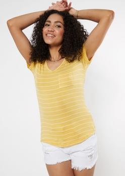 yellow striped v neck pocket tee - Main Image