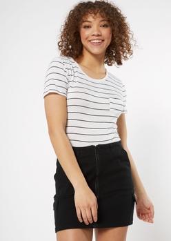 white striped crewneck pocket tee - Main Image