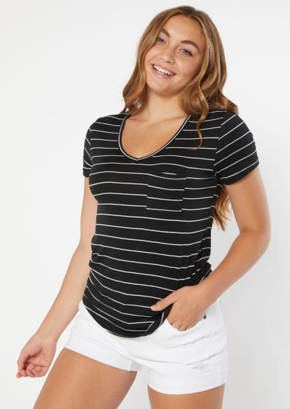 black striped print v neck pocket tee - Main Image