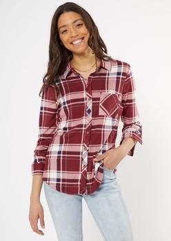 dark red plaid super soft roll tab shirt - Main Image
