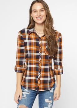 orange plaid super soft roll tab shirt - Main Image