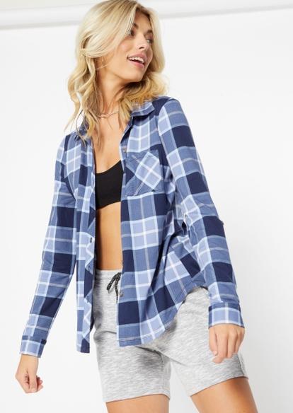 blue plaid super soft roll tab shirt - Main Image