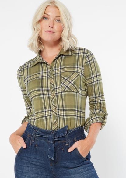 green plaid super soft roll tab shirt - Main Image