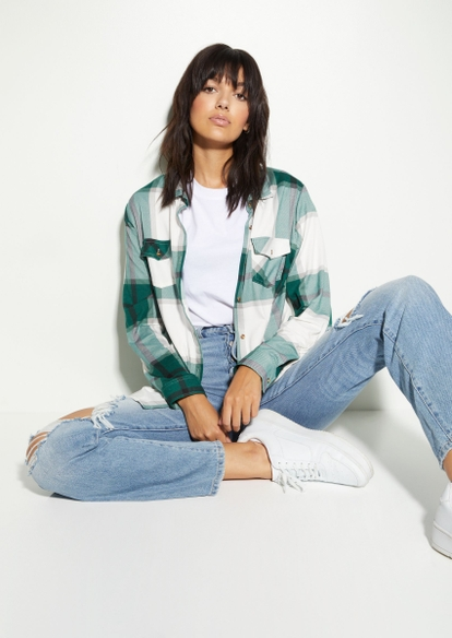 dark green plaid sherpa lined button down top - Main Image