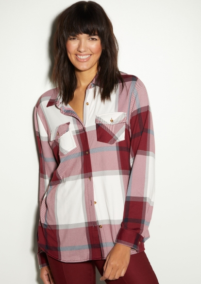 red plaid sherpa lined button down top - Main Image