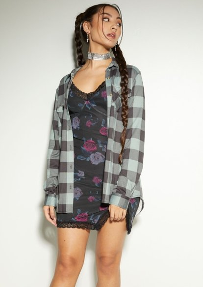 teal plaid sherpa lined button down top - Main Image