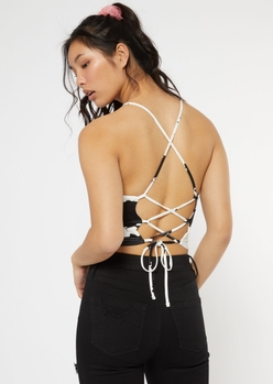 cow print open lace up back cami - Main Image