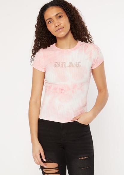 pink rhinestone brat baby tee - Main Image