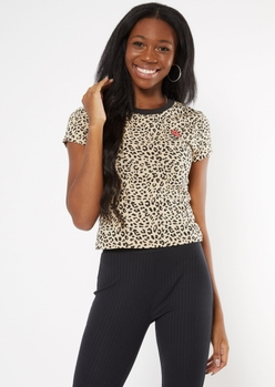 leopard print rose embroidered baby tee - Main Image