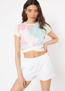 pastel tie dye cutout twist bottom ribbed knit top - Main Image