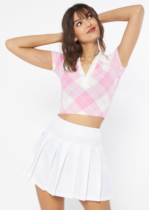 SS PLAID CROP POLO placeholder image