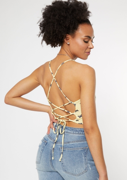yellow butterfly print lace up back tank - Main Image
