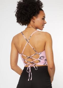 pink dragon print lace up back tank - Main Image