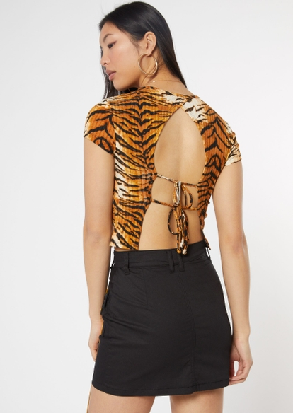 tiger striped open tie back tee - Main Image