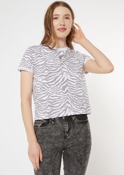 zebra striped roll sleeve cotton boxy tee - Main Image