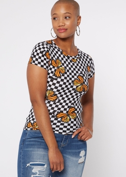 checkered print butterfly baby tee - Main Image