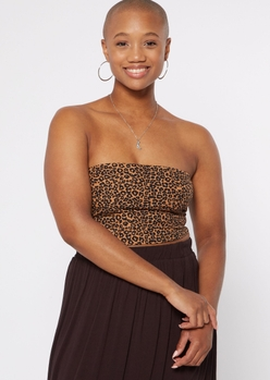 ditsy leopard print tube top - Main Image