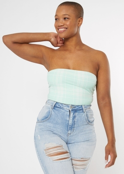 mint plaid double lined tube top - Main Image