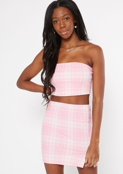 pink plaid double lined tube top - Main Image