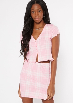 pink plaid lettuce edge button cardigan - Main Image
