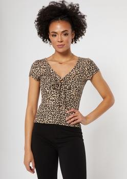 leopard print o ring cutout top - Main Image