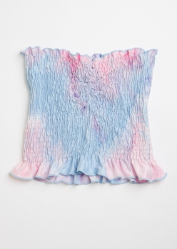 purple tie dye ruched smocked tube top - Main Image