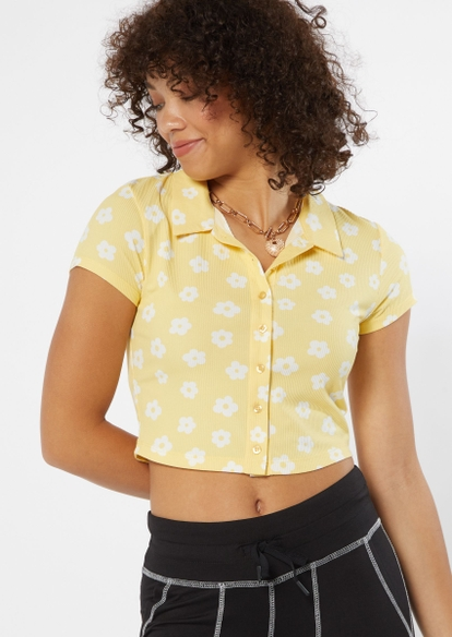 yellow daisy print full button front polo top - Main Image