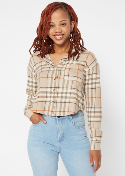 taupe plaid button down cropped long sleeve top - Main Image