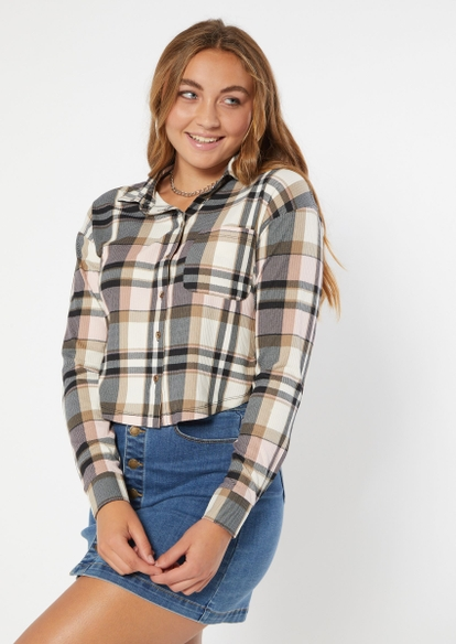 pink plaid button down cropped long sleeve top - Main Image