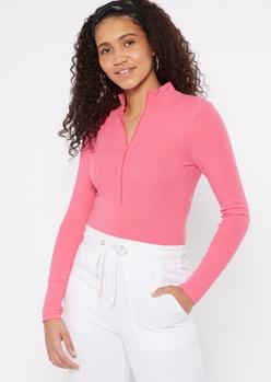 fuchsia collared zip front bodysuit - Main Image